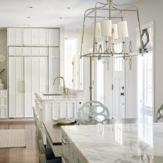 White, Contemporary Kitchen with Split Islands