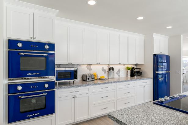 Color and Functionality Added with Blue Double Ovens