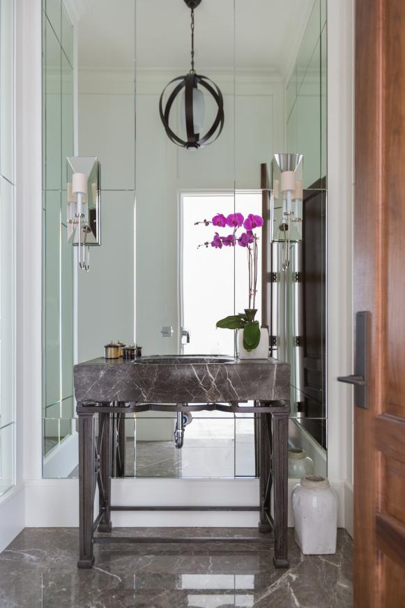 Transitional Powder Room With Marble Sink