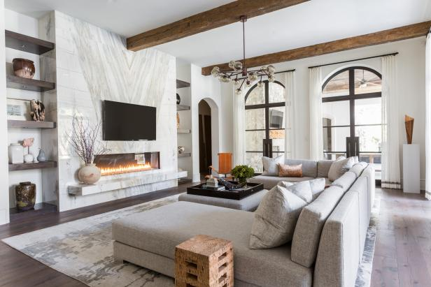 Oversized Sectional Sofa in Front of Fireplace