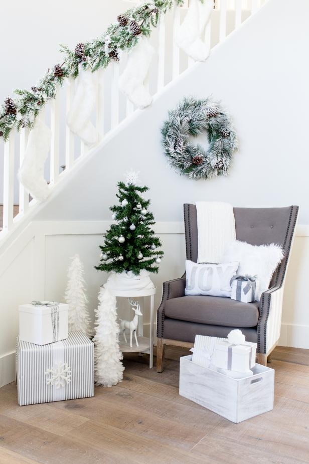 White and Gray Holiday Staircase