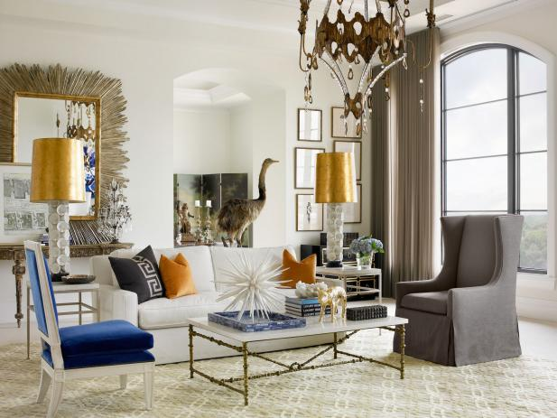 Luxury Modern Living Room with Metallics, White and Blue