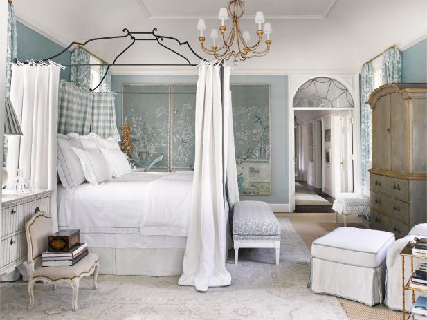Tranquil Luxury Blue Master Suite with Canopy Bed