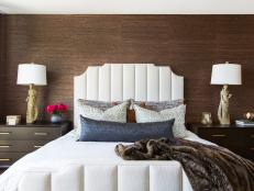Contemporary Brown Bedroom With Statue Lamps