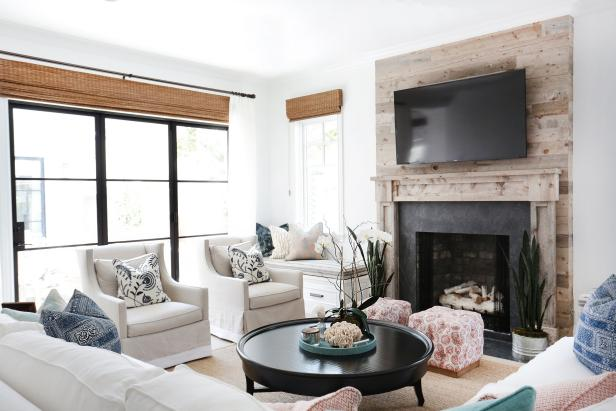 White Country Living Room With Black Coffee Table