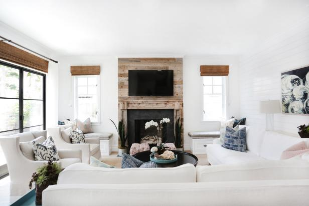 Living Room With Rustic Wood Accent Wall