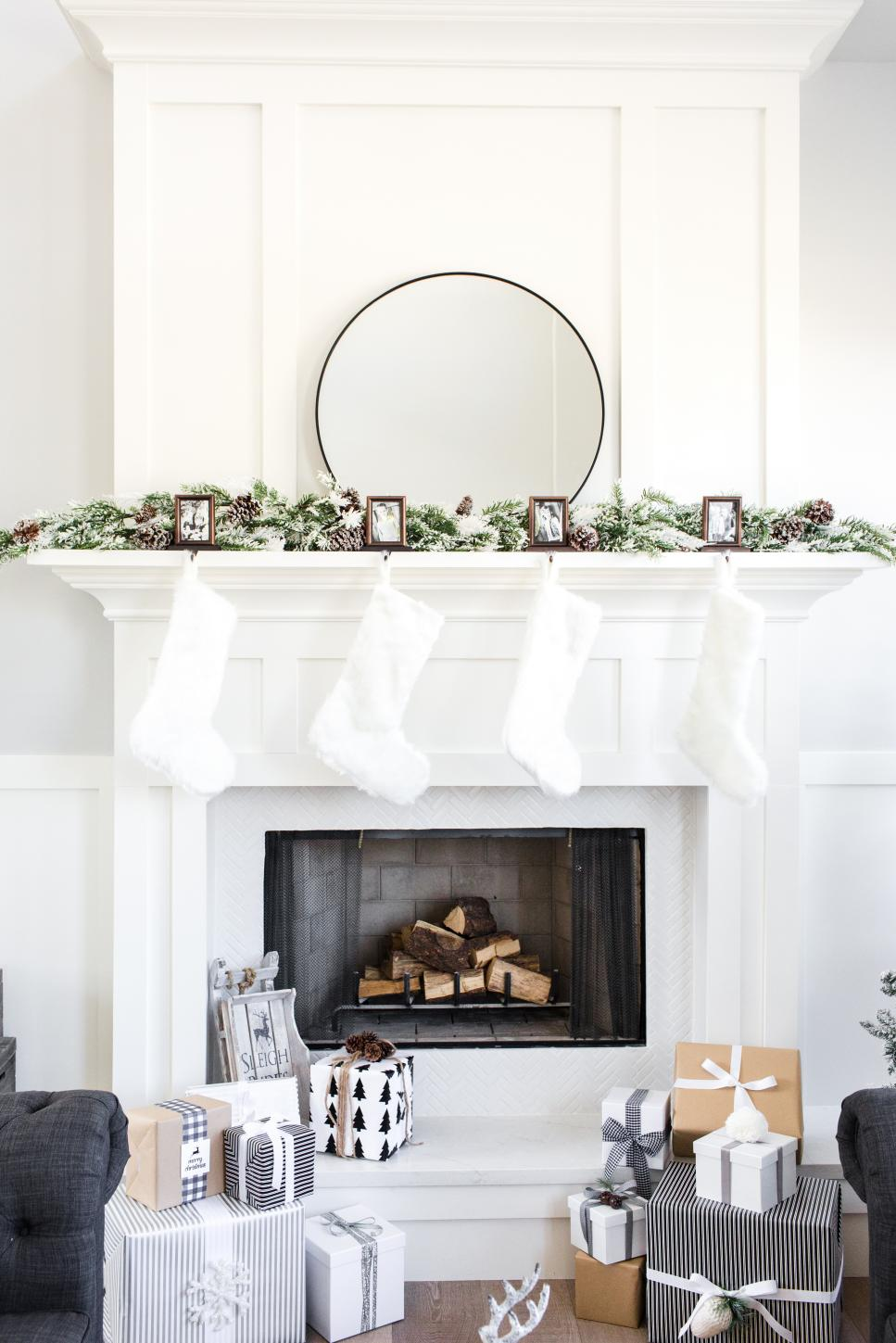 Neutral Christmas Mantel With Photos