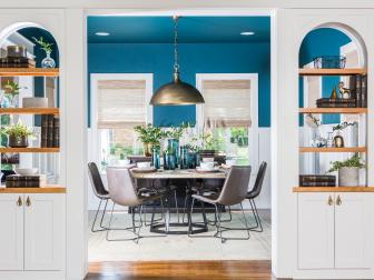 Contemporary Blue Living and Dining Room with White Built-in Shelves