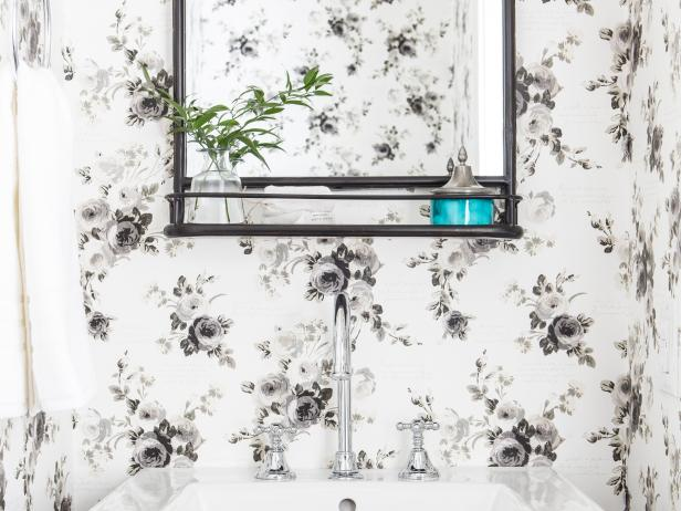 Contemporary Black and White Powder Room with Graphic Wallpaper