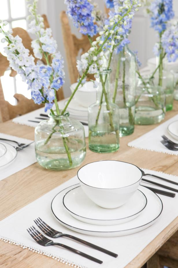 White Dinnerware in Neutral Wood Table