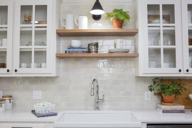 Contemporary White Kitchen with  Wooden Open Shelves
