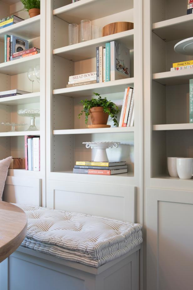 Contemporary Neutral Breakfast Nook with Built-In Shelves