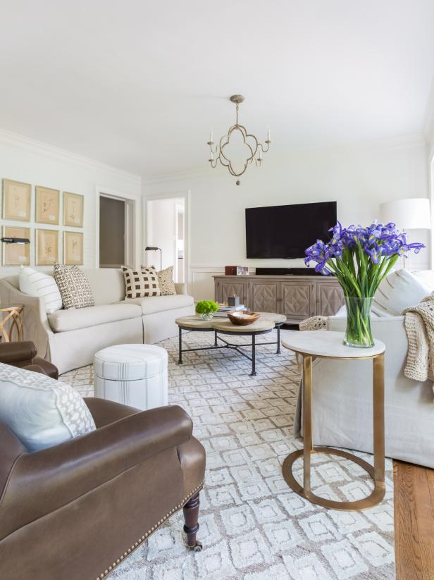 Neutral Living Room With Irises