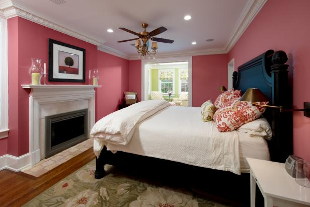 Pink Traditional Master Bedroom