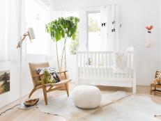 White Contemporary Nursery With Pouf