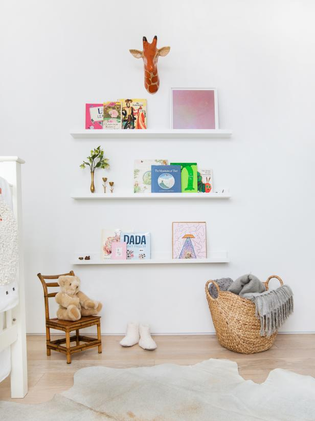 Nursery With Floating Bookshelves