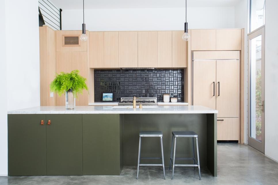 Open Plan Kitchen With Green Island