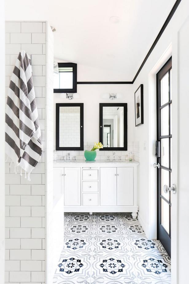 Big Black and White Bathroom