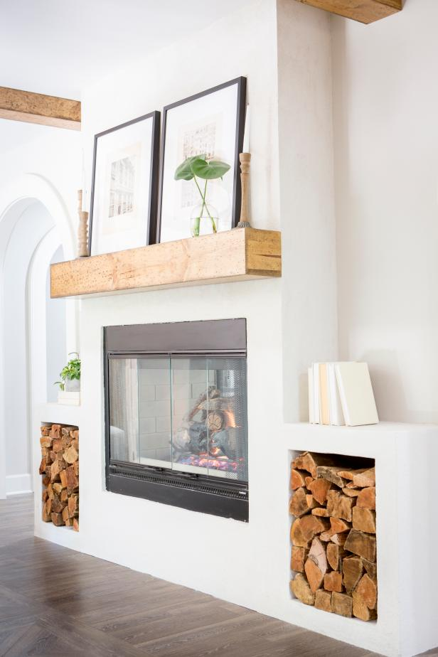 Rustic White Living Room with Neutral Wood Mantel