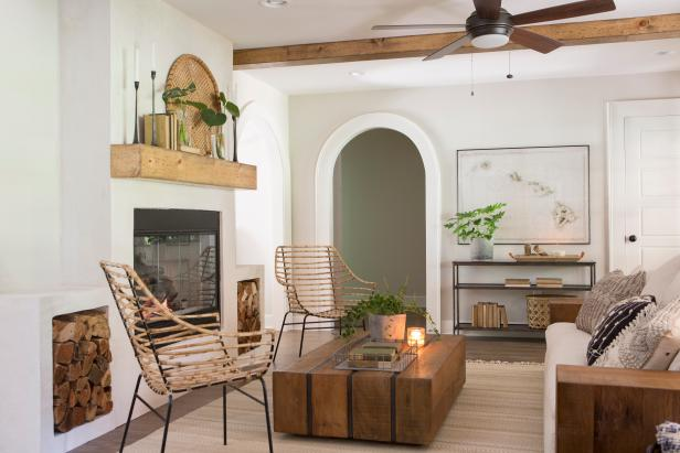 White Living Room with Neutral Exposed Beams