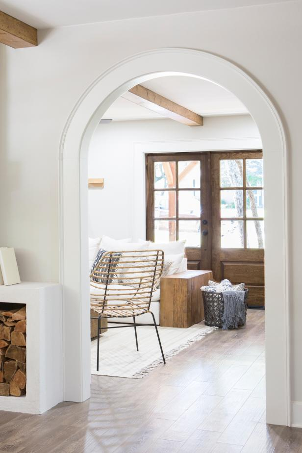 White Living Room with Brown French Doors