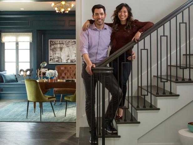 Drew of Property Brothers and Linda on stairs in LA home