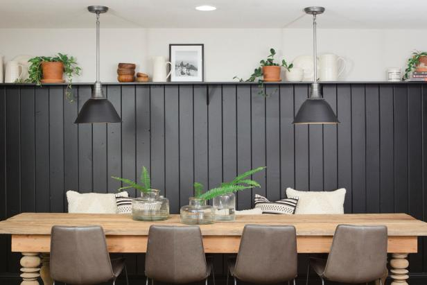 Contemporary Neutral Breakfast Nook with Black Shiplap Wall