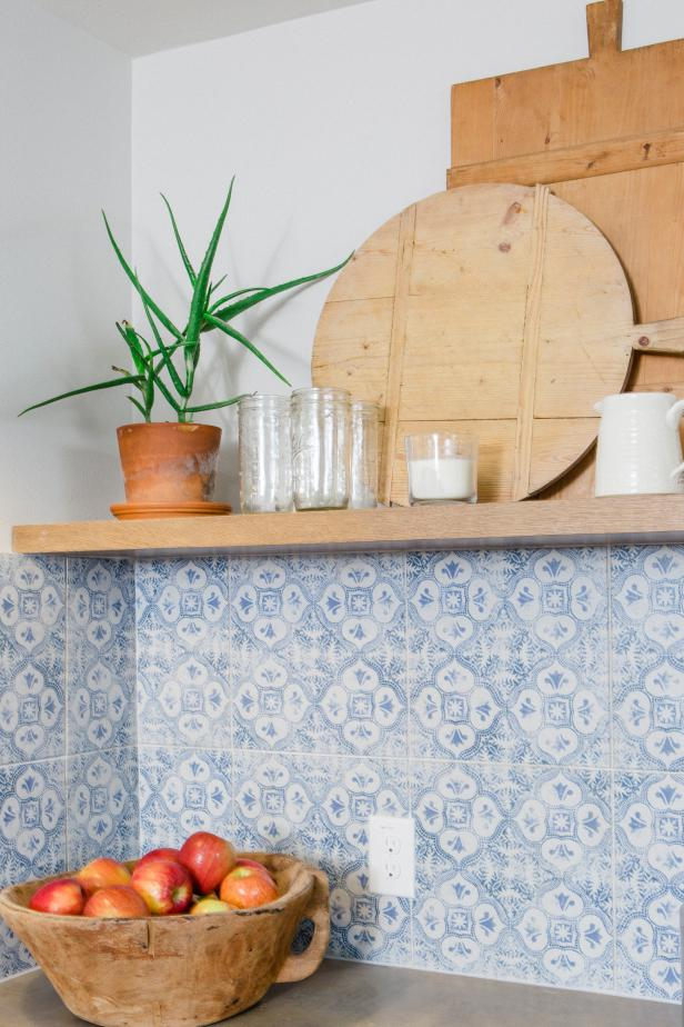 Blue and White Tile Backsplash  in Neutral Cottage Kitchen