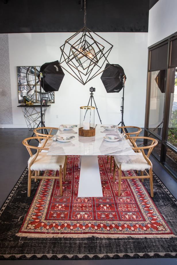 Eclectic Dining Room With Red Rug