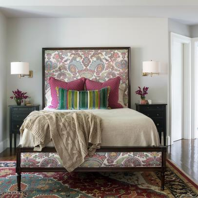 Purple, Blue and Green Master Bedroom with Patterned Rug ...