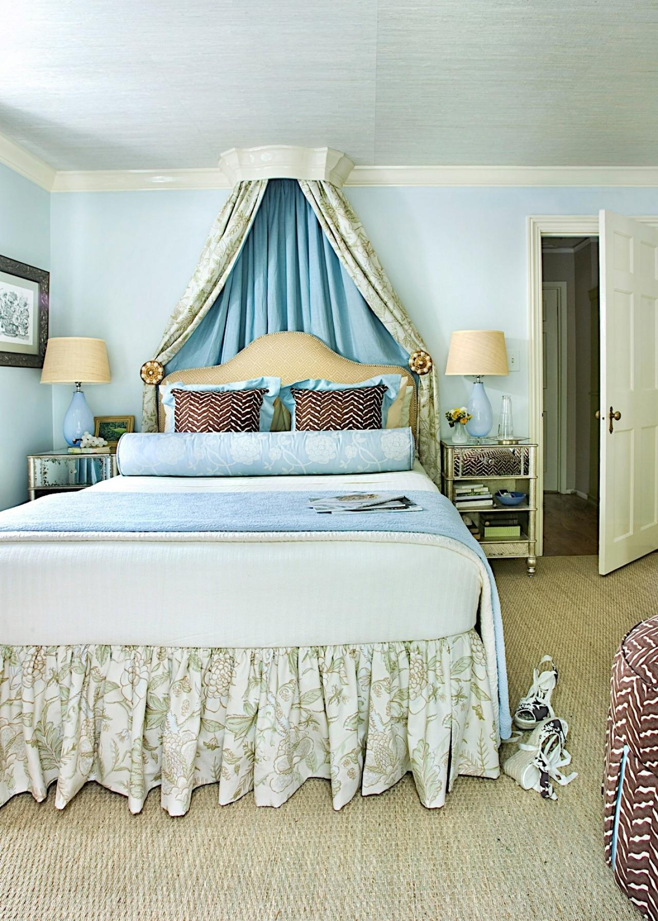 Blue And Green Master Bedroom With Floral Accents, Woven