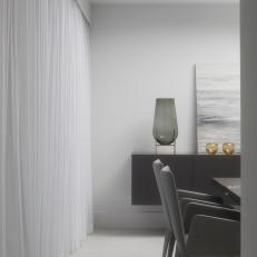 Dining Room Includes Cool White Drapes