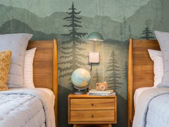 Rustic Neutral Kid's Bedroom with Green Graphic Wallpaper