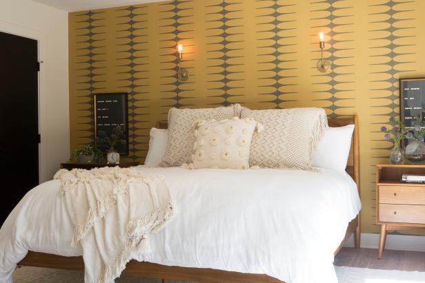 Neutral Bedroom with Yellow Accent Wall and White Bed Linen