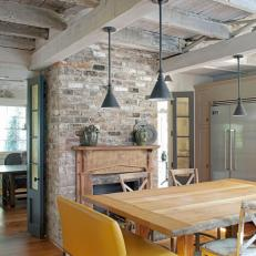 Neutral Transitional Eat-in Kitchen With Exposed-Brick Wall