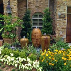 Front Garden With Pot Fountains