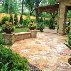 Travertine Patio and Built-In Bench