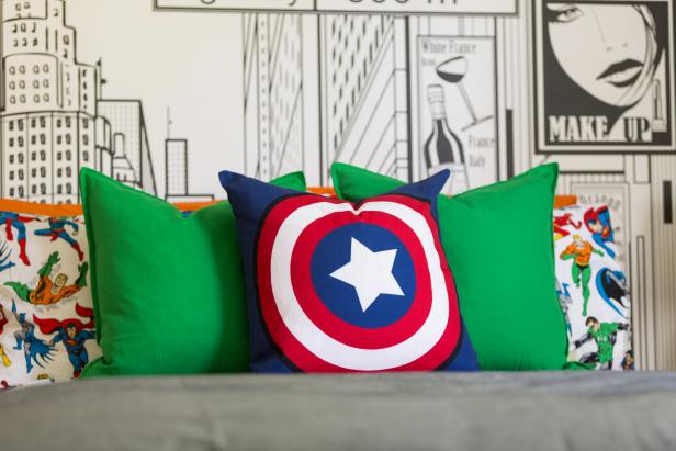 Boy's Bedroom With Super Hero Pillows