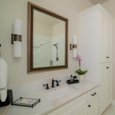 Transitional Bathroom With Wall Sconces