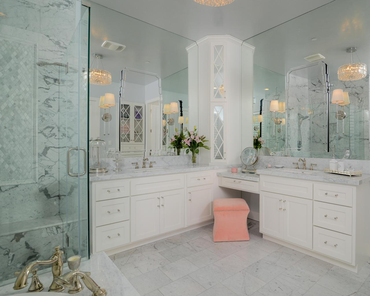 Genial White Spa Bathroom With Built In Vanity