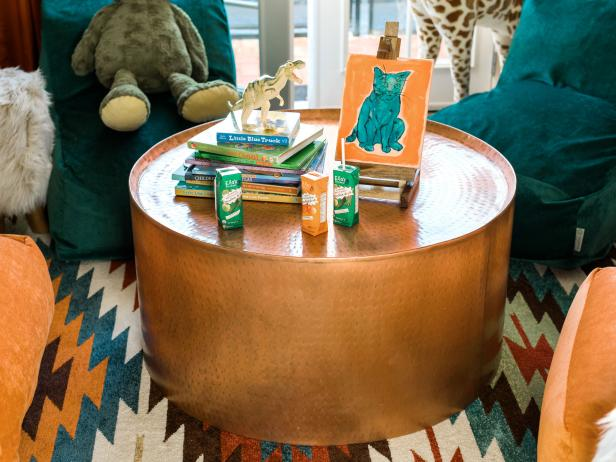 HGTV Spring House 2017: Hammered Copper Coffee Table Topped With Books