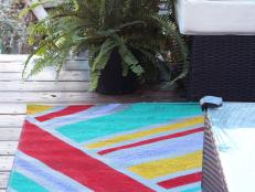 Gray Outdoor Rug With Painted Stripes