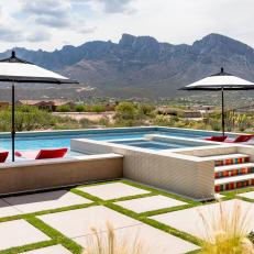 Contemporary Pool Overlooks Santa Catalina Mountains