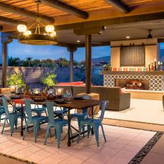 Contemporary Meets Rustic Outdoor Dining Room