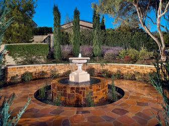 Traditional Patio With Classic Water Feature