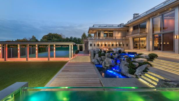 Contemporary Outdoor Space With Waterfall