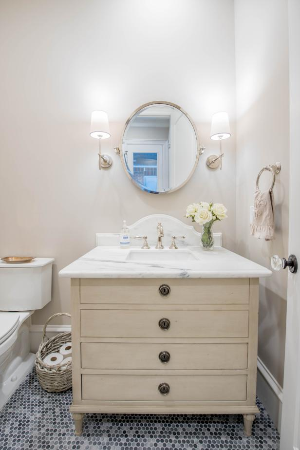 White Penny Tile >> Light, Bright Powder Room | HGTV