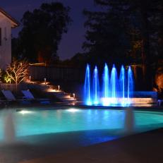 Glowing Water Fountains at Night