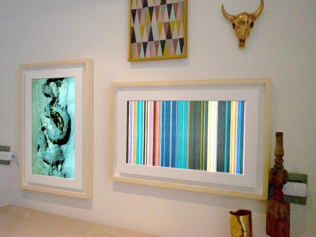 Digital picture frames have grown up into wall art hgtv - Interiors by design picture frames ...