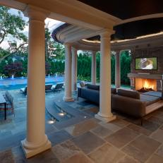 Covered Cabana with Outdoor Fireplace